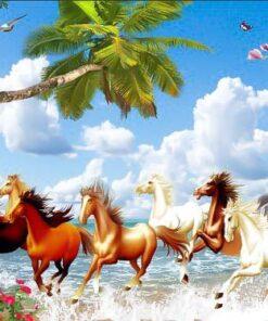 Tranh mã đáo 'ngựa chạy ngoài biển' đi làm xa chiến thắng trở về