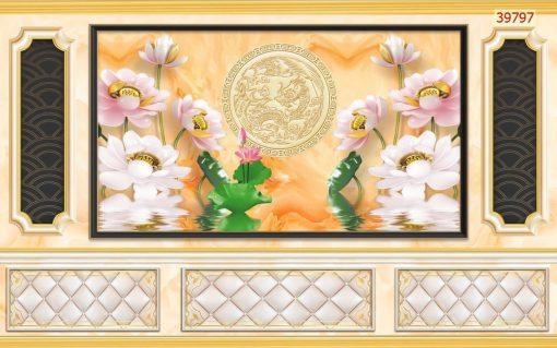 Tranh Quốc hoa dân tộc kết hợp phào chỉ tân cổ điển