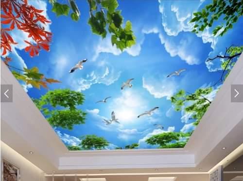 Tranh trần mây có hoa đào hoa mai 2