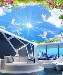 Tranh bầu trời với điểm nhấn là bầu trời xanh ngắt giá rẻ